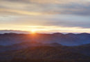 Sunrise over the Blue Ridge Mountains in North Carolina.